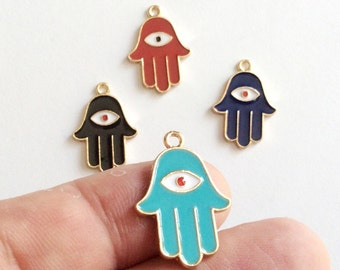 1 pc Matte 22K Gold Plated Base Hand of Hamsa with evil eye Charm- HAnd 24x17mm-(008-052)