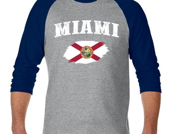 Miami Florida Raglan Sleeve Baseball T-Shirt