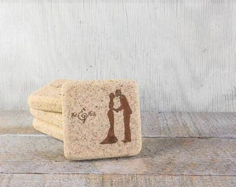 Drink coaster, stone coaster, mr and mrs, bride and groom, set of 4 rustic earthy coasters