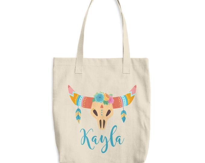 Custom Boho Tote Bag | Personalized Canvas Tote Bag, Boho Skull and Horns |  Canvas tote bag  personalized tote, monogrammed tote  bag