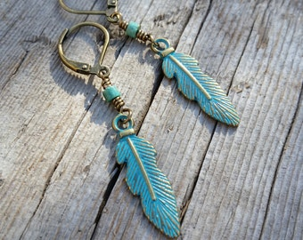 Bronze Feather Earrings, Antique Bronze Patina Earrings, Feather Dangle Earrings, Metal Feather Charms Turquoise and Bronze Feather Earrings