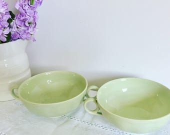 Vintage 1950's soup bowls in pale green.