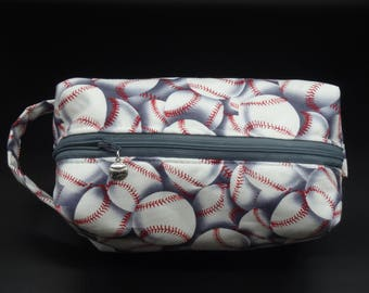 Baseball Dopp Kit, Ditty Bag, Toiletry Kit, Travel Bag, Zip Pouch, Go Bag, Cosmetics Pouch, Pencil Case, Wet Sack, Gifts for Ball Players