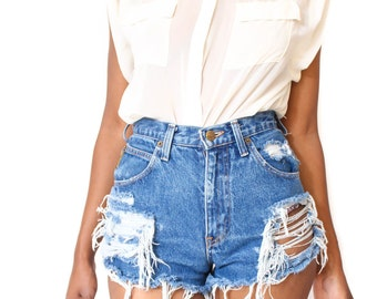 Destroyed Ripped Distress   Custom Made High Waist Shorts S M L
