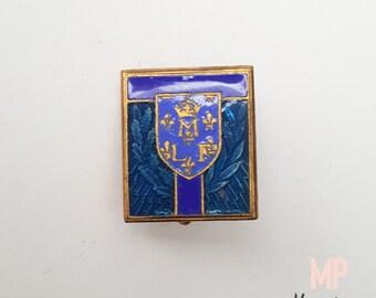 FRANCE 1920, Military Brooch, Enamelled Brass, Monogram - Crown - Lys Flowers, Signed