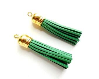 2 Green Tassel Charm/Pendants - 22-35-9