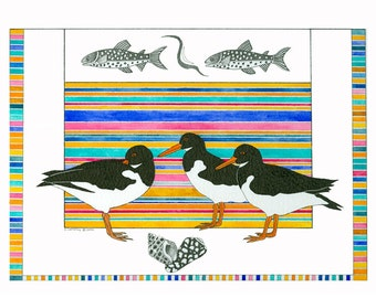 Watercolour Painting Original Art Illustration Oystercatchers Multicolored Stripes Beach Scene Contemporary Pen Ink  Shore Birds