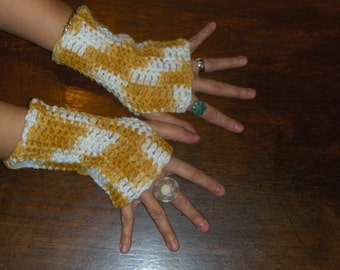 Honey Dijon Handmade Fingerless Gloves Crochet Omber Golden Honey & White Mottled Arm Warmers Rustic Gypsy Crocheted autumn Wristers