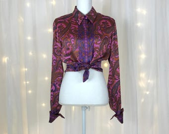 90s silk BLOUSE / SO SOFT / pink purple / paisley / button down / cuffed / top shirt / collared / size small medium