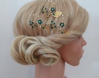 Emerald Hair Pin Wedding hair Pin, Emerald Head Piece Emerald Hair Comb, Emerald Green Headpiece, Bridal Hair Pins Set of 3, Green Hair Pins