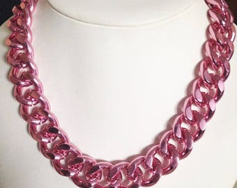 Pink Chunky Curb Chain Necklace, Chunky Chain Jewelry, Pink Chain Links, Chunky Jewelry