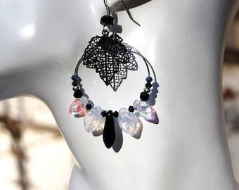 Earrings Creole, black, white opal, Gypsy, tinted winter leaf filigree, chic, elegant, Swarovski Crystal, Czech glass