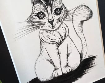 Happy Kitty * Original ink drawing * One-of-a-kind
