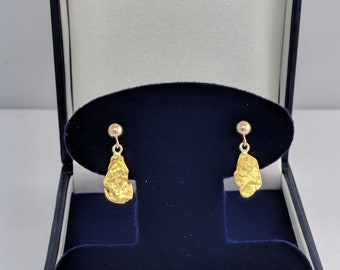 Drop Ball Gold Nugget Earrings, Real Natural Yukon Gold Rush Nugget Earrings, Genuine Gold Nugget Earrings, L4