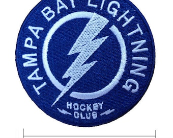 """Tampa Bay Lightning Logo 3"""" Embroidered Iron On Patch."""