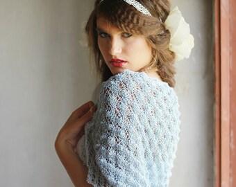 Wedding Shrug  Occasion Bolero Hand Knitted Shrug  Pale Blue Bridal Shrug Pastel Lace Bolero