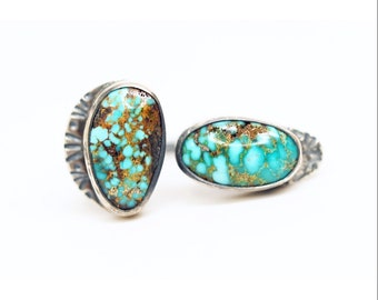 turquoise rider double stone ring - sterling silver turquoise ring - statement piece one of a kind