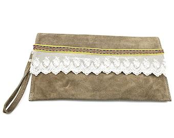 Bohemian leather clutch, Boho clutch, Boho bag, Clutch bag, Leather boho clutch, Gift for women