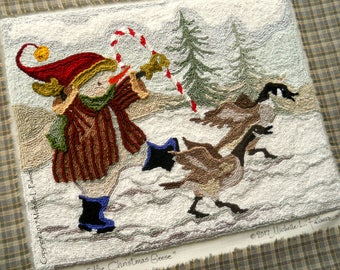Punch Needle Embroidery Pattern DIGITAL Instant DOWNLOAD Jpeg and PDF files Michelle Palmer March of the Christmas Geese Canada Bird Snowman