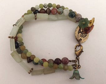 Green Toned Agate Beaded Bracelet Statement Bracelet Beaded Charm Bracelet Fashion Bracelet Boho Bracelet Green Bracelet Gift For Her