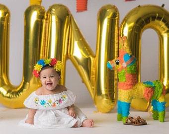 Fiesta Baby Dress, Birthday Smash Cake Outfit, Birthday Girl Outfit, Girl Fiesta Party, Off Shoulders Dress, Holiday Dress, Cinco De Mayo