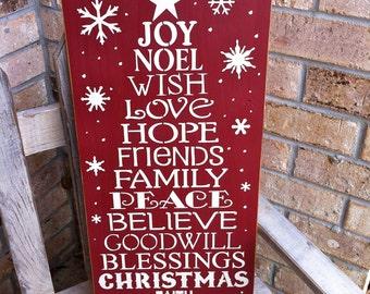 Primitive Christmas Subway Art Sign