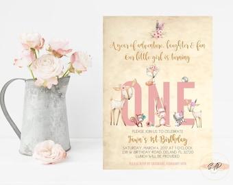 Woodland Birthday Invitation - Tribal Birthday Invitation - First Birthday Invitation Girl - 1st Birthday Invitation Girl - Boho