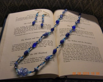Fun Sky Blue Glass Bead Necklace and Earring Set