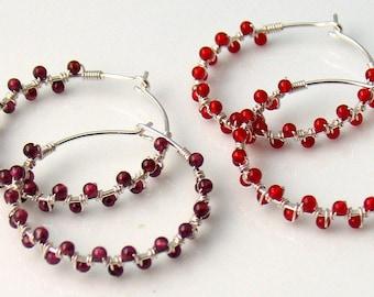 Garnet or Carnelian Hoop Earrings, Red Stone Beaded Hoops, Dark Red or Orange Red Dainty Handmade Hoops, Fun Fashion