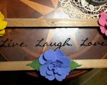 Live Laugh Love Wall Hang Sign Quote with Handmade Wool Felt Flowers