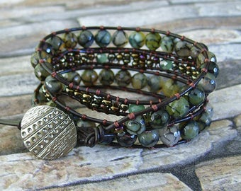 Leather Wrap Bracelet Green Bohemian Jewelry Southwest Bracelet Brown Wrap Bracelet Leather Jewelry Hippie Wrap Brown Girlfriend Gift
