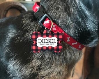 Plaid Dog Tag - Custom Dog Tag - Personalized Dog Tag - Dog Tags With Phone Number - Custom  Pet Tags- Pet ID Tags - Dog ID Tags - Pet Gift