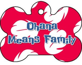 Lilo and Stitch Ohana Disney Inspired Double Sided Dog Pet ID Tag