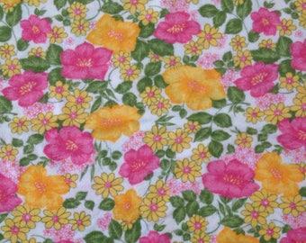 Vintage Stoff 1M retro Blumen Jahrgang große Rest Bett Blatt UK Verkäufer