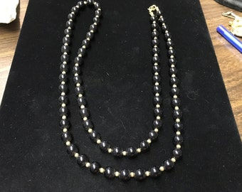 Vintage Monet Necklace, Beaded Black and Goldtone