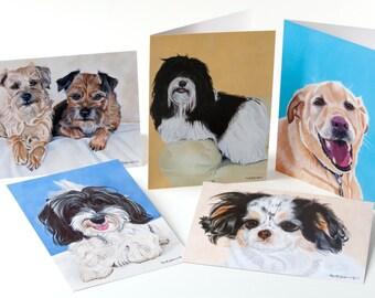 "Set of five (5) Dog Portrait Greeting Cards, 5 x 7"" by Award Winning Artist Ingrid Lockowandt"