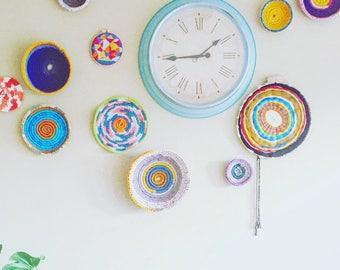 Wall of Baskets- 5 Crochet Baskets- Bohemian Wall Decor- Nursery Decor- Dorm Room Decor- Set of Baskets- Boho Decor- Bedroom Decor
