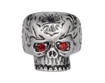 Womens Biker Motorcycle NEW Stainless Steel Stone Eyes Skull Ring Sz 5-9