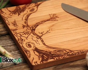Personalized Cutting Board - Tree & Initials Design, Personalized Wedding Gift, Engraved Cutting Board, Housewarming Gift, Engagement Gift