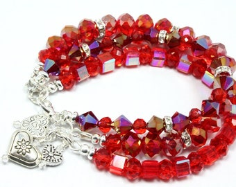 Red Crystal Bracelet, Valentines Bracelet, Silver Hearts, Three Strands, Heart Bracelet, Valentines Day Gift, Crystal Bracelet with Charms