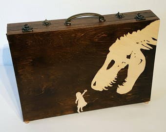 """Wooden Laptop Case with T-Rex and Small Child - for 13"""" MacBook Pro with Retina display - customization on back cover possible."""