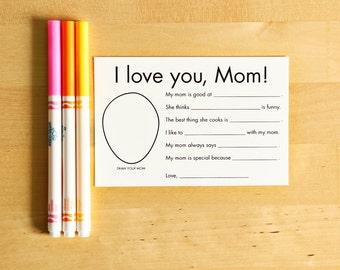 I Love You Mom printable card - Mother's Day Card - Interview Questions for Kids - Gifts from Kids - Personalized Card for Mom