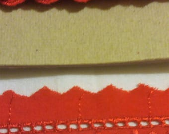 Broderie Anglaise lace trim 12 mm wide by 9 meter long.Bright Red.