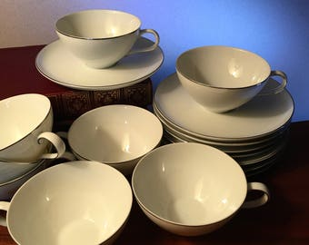 Set of eight vintage Style House Platinum Ring china cup and saucer sets made in Japan