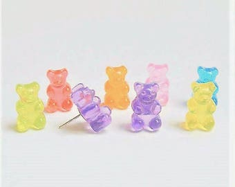 Food Jewelry Bear Earrings, Candy Earrings, Candy Jewelry, Bear Jewelry, Miniature Food Earrings, Food Jewellery, Mini Food, Kawaii Earrings