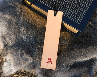 Personalized Monogram Leather Bookmark