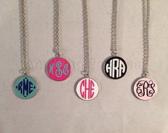 Monogrammed Enamel Necklace, Personalized Necklace, Enamel Necklace, Personalized Jewelry, Personalized Gift, Monogram Gift, Silver