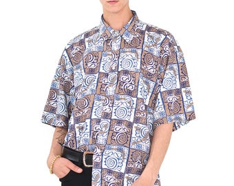 VINTAGE Colourful Checked Short Sleeve Retro Button Down Shirt