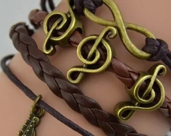 Guitar, Music Notes, Infinity Charm Bracelet