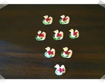 Miniature Christmas Ducks/ Set of 8 /Miniatures/Supplies*
